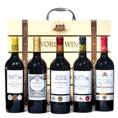 World Wine Gift Box With 5x750ml Bordeaux Wine